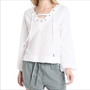Cloth & Stone B-neck Lace Up Bell Sleeve Top